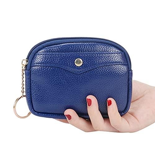 BCDZZ Mini cartera de piel sintética con cremallera elegante simple compacta suave cartera de regalo para mujeres y niñas festival de cumpleaños, color azul