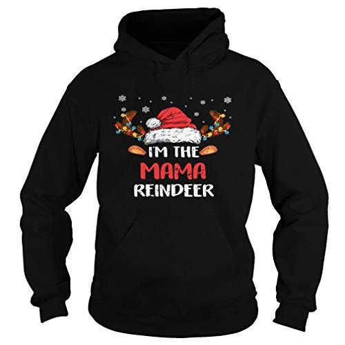 I'm The Mama Reindeer Christmas Pajama Family Costume Black Hoodie Black Size S