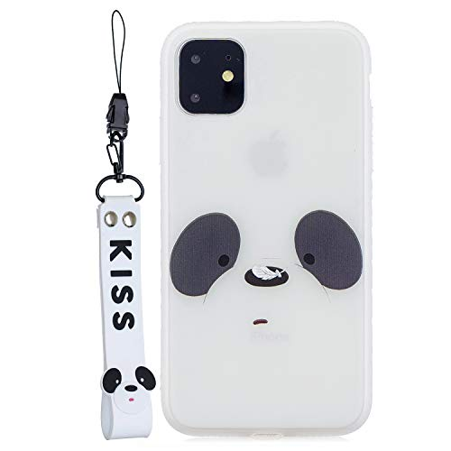 EuCase Coque iPhone 11 Silicone Blanc Motif Housse Etui iPhone 11 Antichoc Ultra Mince Fine Souple TPU Case avec Corde à Main Housse Protection Bumper Case Cover Ours Blanc