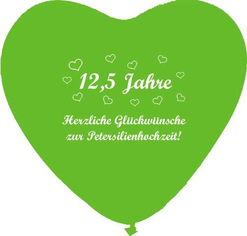 Unbekannt 10 grüne Herzballons Petersilienhochzeit, ca. 28 cm