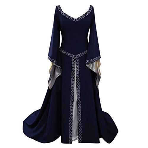 LRWEY 50s Vintage Rockabilly Kleid Jersey Sommerkleid Abendkleid Frauen Gitter Partykleider Lace Up Cosplay Punk Mittelalter Schulterfrei Cocktailkleid Halloween Kleid