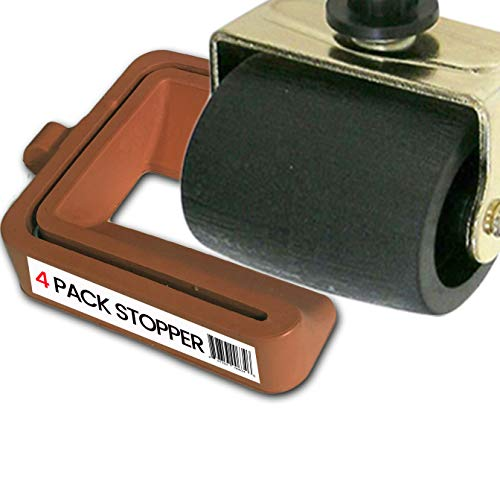 No Lift - Bed and Furniture Stopper - Requires No Lifting of Your Bed - It Works - Caster Cups Keeps Bed and Furniture from Sliding Bed Caster Stopper. Solid Rubber (4, Brown)