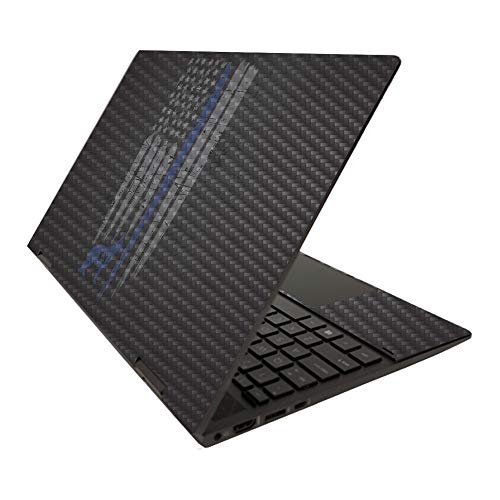 MightySkins Carbon Fiber Skin for HP Envy x360 15' (2020) - Thin Blue Line K9   Protective, Durable Textured Carbon Fiber Finish   Easy to Apply   Made in The USA