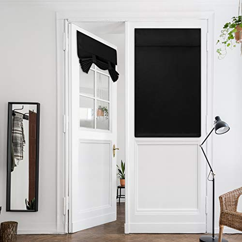 HOMEIDEAS Black French Door Curtains Privacy Blackout Door Curtains, 26 X 40 Inch Room Darkening Curtains for Glass Door, Thermal Insulated Tie Up Shades Window Curtains for Bedroom, 1 Panel
