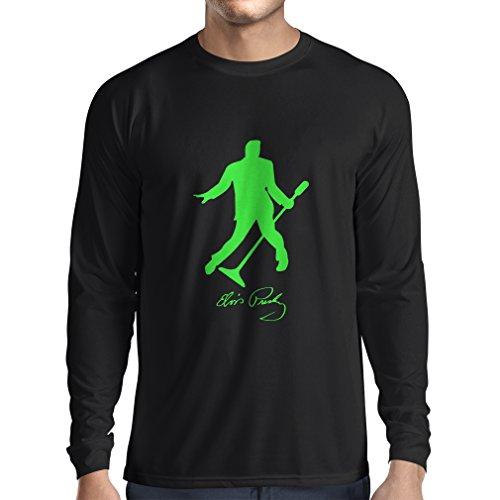 lepni.me T-Shirt Manches Longues Homme J'adore Le King of Rock and Roll, Les années 50, 60, 70, Music Fan (Large Noir Verte)