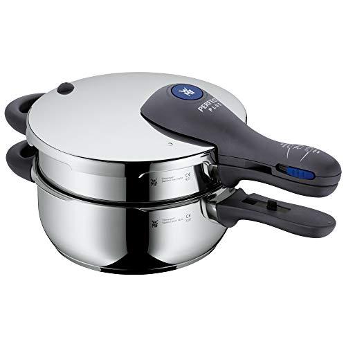 WMF Perfect Plus Schnellkochtopf Set Induktion 2-teilig, Dampfkochtopf 4,5l + 3l, Cromargan Edelstahl poliert, 2 Kochstufen, Einhand-Kochstufenregler, stapelbar