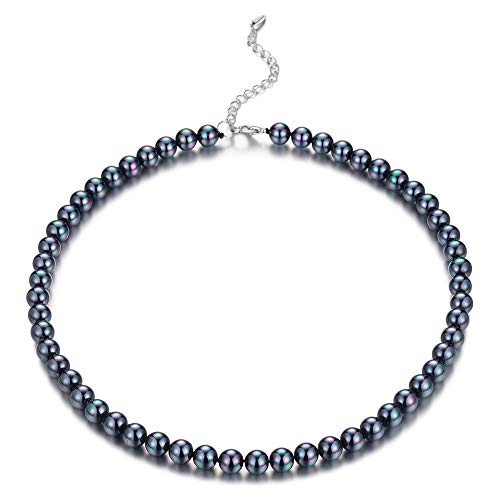 BULINLIN Beaded Strand Pearl Choker Necklace - Fashion Jewelry Birthday Gifts for Women Girls (22-8mm Black)