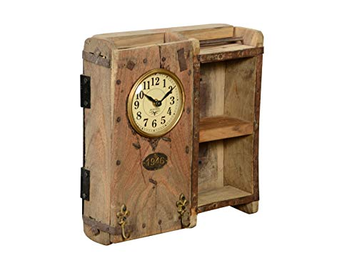 Woodkings® Holz Wanduhr mit Haken Uhr Ziegelform Altholz Unikat 30x33cm rustikal Holzuhr Backsteinform mit Fächer Analog Echtholz Dekoration
