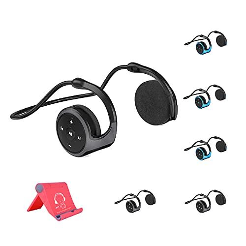 AQUYY 6 Piezas Cascos Deportivos Bluetooth, Auricular Ligeros Plegable con Sonido Estéreo HD, Soporte para teléfono móvil, Cómodos 6 Piezas Cascos On-Ear para Correr Gimnasio Black