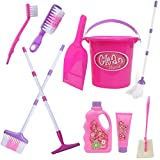 Top Right Toys Kids Cleaning Set for Toddlers Pretend Play Broom Set with 28' Adjustable Extra Tall Broom, Mop, and Squeegee with 10 Accessories Pretend Playset