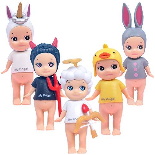 BAIBEI 5Pcs Cake Topper, Mini Juego de Figuras Niños, Baby Shower Fiesta de cumpleaños Pastel Decoración Suministros