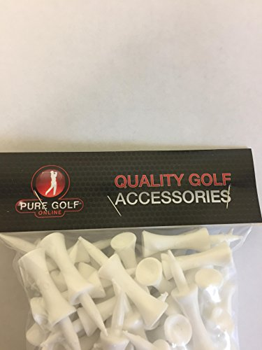 Pure Golf Online Pack of 100 UK Made White Castle Shoulder Tees 50mm for 30mm Teeing Up Height