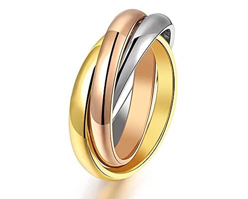 Anillo alianza de 3 círculos entrelazados de 3 colores de oro de 18 quilates (17)