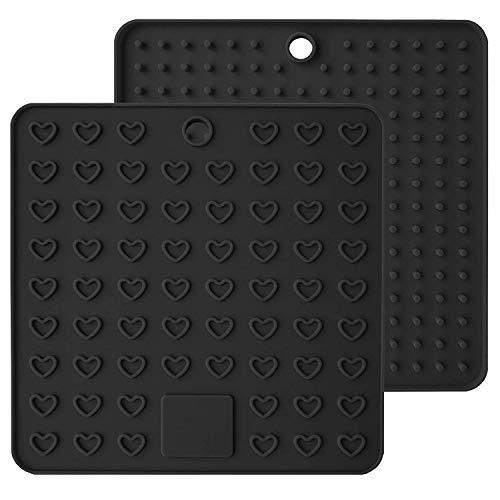 Lot de 2 dessous de plat carrés en silicone résistant à la chaleur et antidérapant, noir