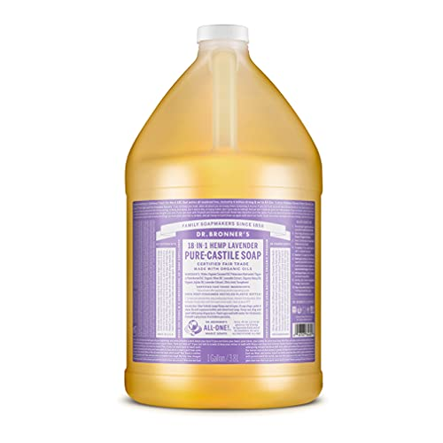 Dr. Bronner's - Pure-Castile Liquid Soap (Lavender, 1 Gallon) - Made with Organic Oils, 18-in-1 Uses: Face, Body, Hair, Laundry, Pets and Dishes, Concentrated, Vegan, Non-GMO