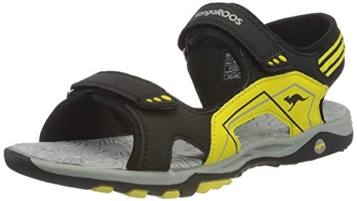 KangaROOS K-Everest, Sandali Unisex-Adulto, Jet Black/Sun Yellow, 35 EU