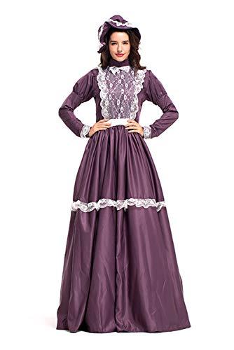 Huiyemy Pioneer Colonial Historische Kostüm, Damen Viktorianisch Pioneer Kolonial Bauer Kostüm Prairie Kleid M