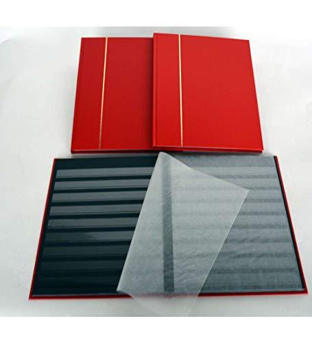Goldhahn A4/16 Schwarze Seiten Briefmarkenalbum Einsteckbuch hellroter Einband mit Klarsichtstreifen Briefmarken für Sammler