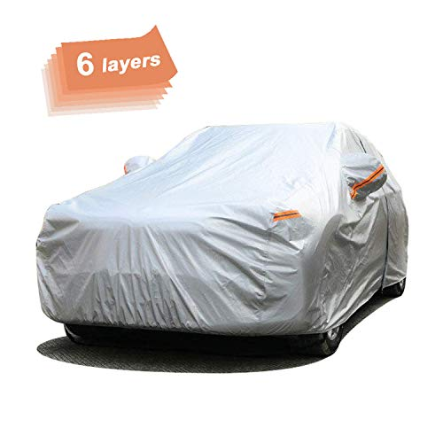 SEAZEN Car Cover 6 Layers, Waterproof Hatchback/Sedan Car Cover with Zipper Door , Snowproof/UV Protection/Windproof, Universal Car Covers Breathable Fabric with Cotton (Length Up to 185'')