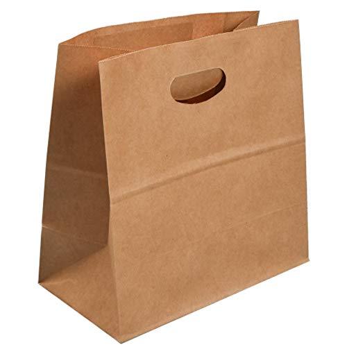 TreeLeaff 25 bolsas de papel kraft con asa, bolsas de almuerzo de fondo plano para regalos, bolsa de papel kraft para llevar bolsas para tiendas, tiendas, tiendas, embalajes, bodas