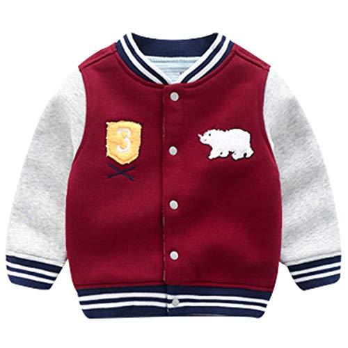 Famuka Baby Jungen Jacke Kleinkinder Jäckchen Übergangsjacke Babykleidung (Rot, 9-12 Monate/80)