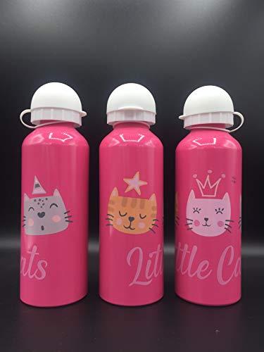 ML Una Botella de Agua de Aluminio, cantimplora térmica a Prueba de Fugas sin BPA para Levar a la Escuela y Deportes el Termo 500ml para niños y niñas (Rosa)