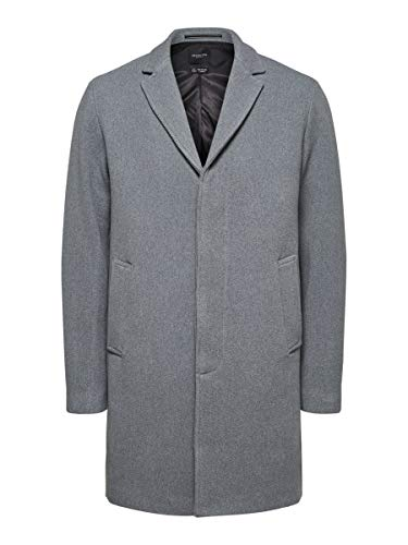 SELECTED HOMME Male Mantel Fallendes Revers Woll MGrey Melange