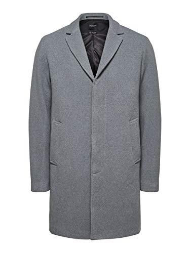 SELECTED HOMME Male Mantel Fallendes Revers Woll LGrey Melange