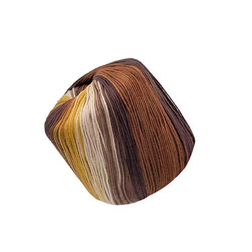 HEALLILY 1 Rollo de Hilo de Algodón Arco Iris Que Hace Punto Hilo de Tejer a Mano Hilo de Tejer Hilo de Ganchillo para Crochet Hardanger Punto de Cruz Bordado a Mano Todo (Marrón)