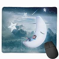 マウスパッド オフィス最適 湖の上 眠った白いの月と星 ゲーミング 防水性 耐久性 滑り止め 多機能 標準サイズ25cm×30cm