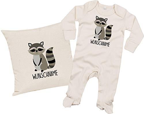 Set de regalo para bebé, pijama y cojín con nombre personalizado, diseño de animales Almohada y pijama natural 0-3 M. 0-3 Meses