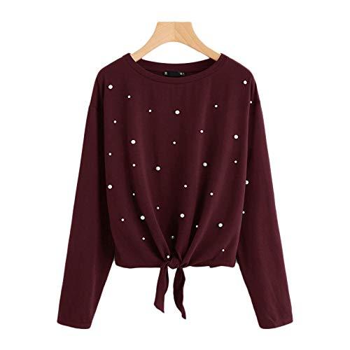 QSDM Camisetas y Blusas para Mujer Sudaderas de Mujer Tops Suéter Suelto de Manga Larga para Mujer de otoño-Vino Tinto_Metro