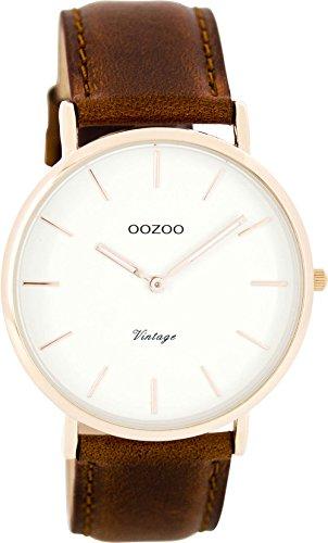 Oozoo Vintage Ultra Slim Leder 40 MM Rose/Weiss/Rotbraun C7760