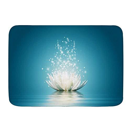 N\A Tapis de Bain, Fleur de Lotus Magique, Tapis de décor de Salle de Bain en Peluche avec Support antidérapant