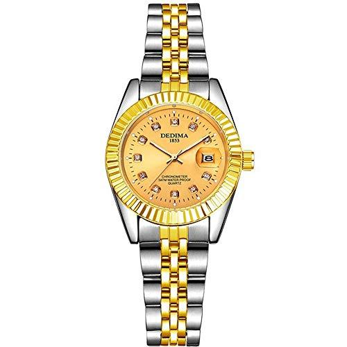 ZSDGY Reloj Dorado para Pareja, Reloj Impermeable con Calendario de Banda de Acero, Reloj Luminoso con Diamantes para Damas A-Woman
