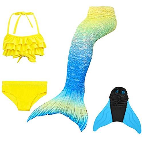 DNFUN Mädchen Meerjungfrau Schwänze zum Schwimmen mit Meerjungfrau Monoflosse - Cosplay Meerjungfrau Wassersport Spaß Badebekleidung mit Bikini-Set und Flosse