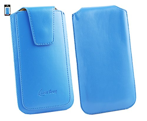 Emartbuy® Siswoo A5 Chocolate 5 Zoll Smartphone Sleek Serie Light Blau Luxury PU Leder Tasche Hülle Schutzhülle Hülle Cover ( Größe 4XL ) Mit Ausziehhilfe