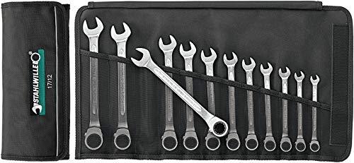 Stahlwille Ratschen Ringmaulschlüssel Satz OPEN RATCH; Textil Rolltasche; hohe Biegefestigkeit; 12-tlg - 96411712