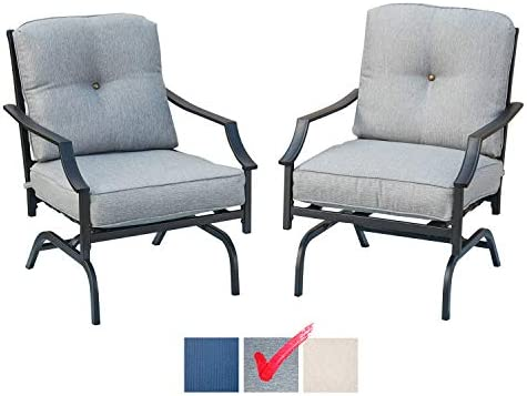 Best Festival Depot 2 of Outdoor Patio Bistro ArmChairs with Cushions Set Premium Fabric Metal Frame Furn