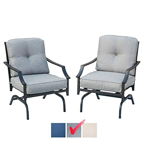 Festival Depot 2 of Outdoor Patio Bistro ArmChairs with Cushions Set Premium Fabric Metal Frame Furniture Set Garden Dining Seating Chair Thick & Soft Cushions (Grey)