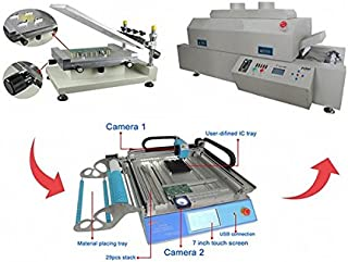 GOWE High Precision Stencil Printer + Reflow Oven + Pick and Place Machine, Small SMT Line 110v / 220v