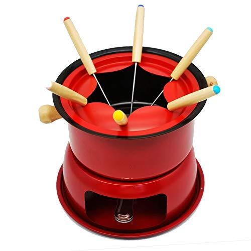 Conjunto De Fondue De Acero Inoxidable para Queso, Carne, Chocolate, Caldo, Queso, Olla De Fusión De Olla Caliente con 6 Tenedores De Acero Inoxidable (Color : Red)