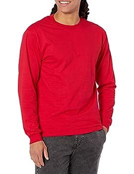 Hanes Men s Beefy Long Sleeve Shirt Deep Red L