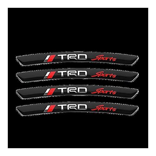 Etiquetas engomadas de Las Rayas de Las Llantas 4 unids Metal Car Hub TRD TRD Emblema Pegatinas Llantas Calcomanías Curvas Compatible con Toyota Corolla Yaris Aygo GT86 Prius RAV CHR Camry AURIS PVC