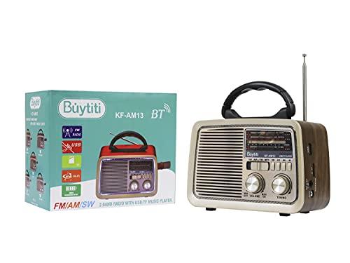 Bocina Bluetooth Vintage, Con Radio AM Y FM, Entrada USB, Estéreo Altavoz Inalámbrico Bluetooth Portátil y Recargable, Vintage con...