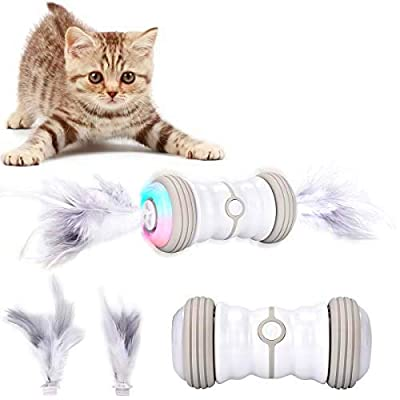 Bojafa Interactive Cat Toy, Cat Feather Toys Kitten Toys Gifts for Indoor Cats, Irregular Self-Rotating Moving Colorful LED Lights USB Rechargeable