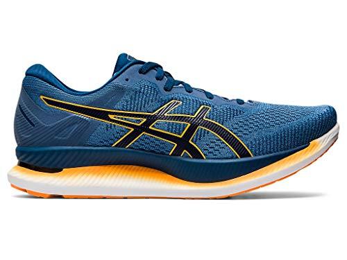 ASICS Men's GlideRide Running Shoes, 13M, Grey Floss/MAKO Blue