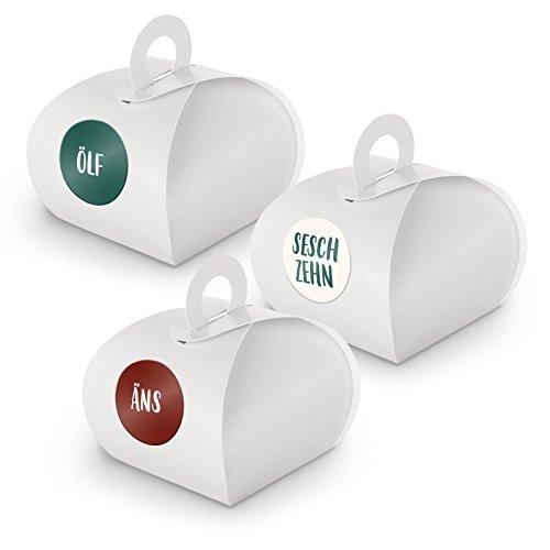 DIY itenga Adventskalender Set V10 zum Selberbefüllen 24x kleine Geschenkox mit Griff/zum Aufhängen WEISS + ZahlenSticker (Motiv Z27 Saarländisch)