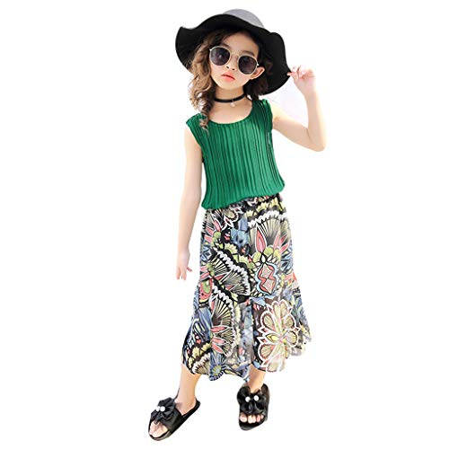 SIN vimklo Baby Girl Chiffon Blouse Vest Tops Flower Dress Skirt Set Outfits Clothes,3-9Years Green