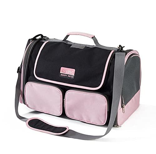 QMHN Bolsa transpirable para mascotas de un solo hombro con cremalleras de seguridad, bolsa portátil de viaje para perros pequeños, gatos y animales pequeños, color rosa